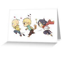 Sonic, Genos and Saitama One Punch Man Greeting Card