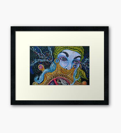 blue haired gypsy Framed Print