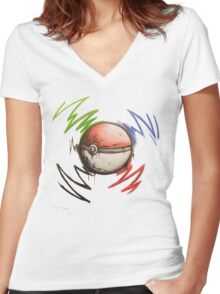 Pokeball! Women's Fitted V-Neck T-Shirt