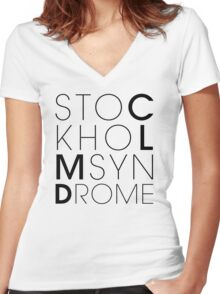 CLMD - The Stockholm Syndrome Black Typography Women's Fitted V-Neck T-Shirt
