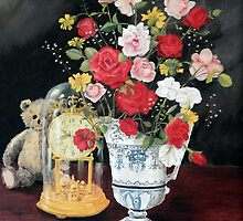 ROSES IN AN ANTIQUE VASE by Sandra  Aguirre