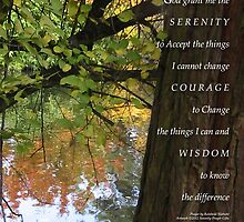Serenity Prayer Tree and Pond Autumn by serenitygifts