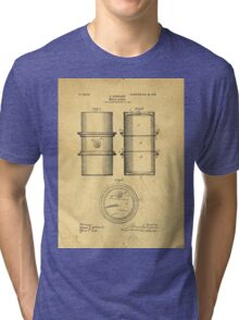 Original Patent for the first metal oil drum Tri-blend T-Shirt