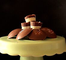 Two-Tone cupcake chocs and big homemade buttons. by Livvy Young