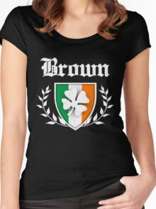 Brown Family Shamrock Crest (vintage distressed) Women's Fitted Scoop T-Shirt