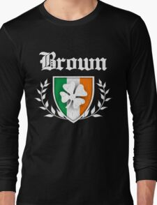 Brown Family Shamrock Crest (vintage distressed) Long Sleeve T-Shirt