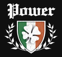 Power Family Shamrock Crest (vintage distressed) Kids Tee