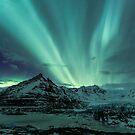 Aurora Borealis over glacier by Arnar Bergur Gudjonsson