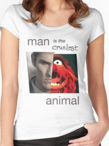 MAN is the cruelest ANIMAL Women's Fitted Scoop T-Shirt