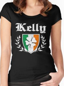Kelly Family Shamrock Crest (vintage distressed) Women's Fitted Scoop T-Shirt