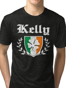 Kelly Family Shamrock Crest (vintage distressed) Tri-blend T-Shirt