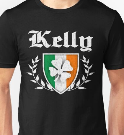 Kelly Family Shamrock Crest (vintage distressed) Unisex T-Shirt