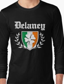 Delaney Family Shamrock Crest (vintage distressed) Long Sleeve T-Shirt