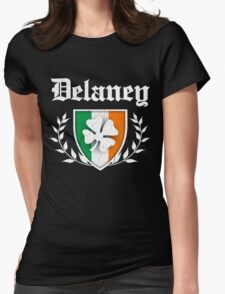 Delaney Family Shamrock Crest (vintage distressed) Womens Fitted T-Shirt