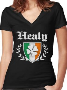 Healy Family Shamrock Crest (vintage distressed) Women's Fitted V-Neck T-Shirt