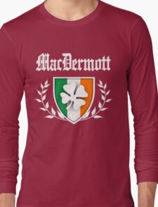 MacDermott Family Shamrock Crest (vintage distressed) Long Sleeve T-Shirt