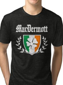 MacDermott Family Shamrock Crest (vintage distressed) Tri-blend T-Shirt