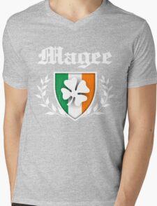 Magee Family Shamrock Crest (vintage distressed) Mens V-Neck T-Shirt