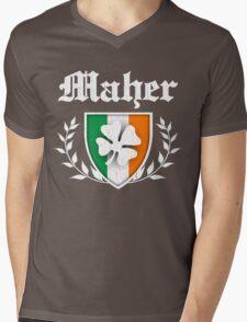 Maher Family Shamrock Crest (vintage distressed) Mens V-Neck T-Shirt
