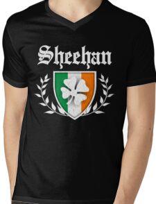 Sheehan Family Shamrock Crest (vintage distressed) Mens V-Neck T-Shirt
