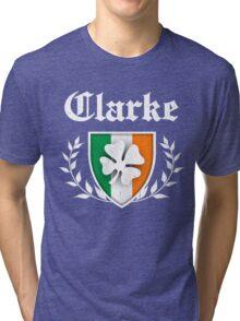 Clarke Family Shamrock Crest (vintage distressed) Tri-blend T-Shirt