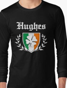 Hughes Family Shamrock Crest (vintage distressed) Long Sleeve T-Shirt
