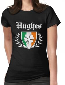 Hughes Family Shamrock Crest (vintage distressed) Womens Fitted T-Shirt
