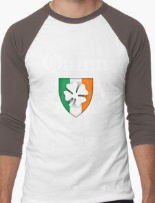 Quinn Family Shamrock Crest (vintage distressed) Men's Baseball ¾ T-Shirt