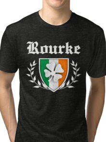 Rourke Family Shamrock Crest (vintage distressed) Tri-blend T-Shirt