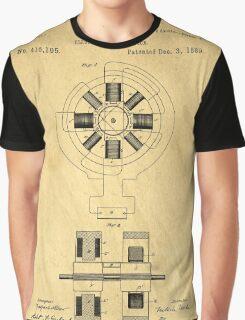 Nikola Tesla Electro Magnetic Motor Patent Graphic T-Shirt