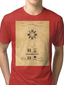 Nikola Tesla Electro Magnetic Motor Patent Tri-blend T-Shirt