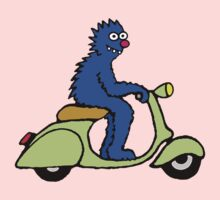 Blue monster on a green scooter One Piece - Long Sleeve