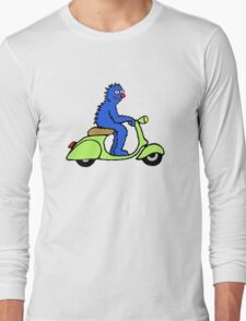 Blue monster on a green scooter Long Sleeve T-Shirt