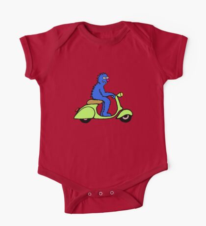 Blue monster on a green scooter One Piece - Short Sleeve