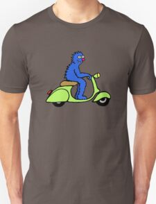 Blue monster on a green scooter Unisex T-Shirt
