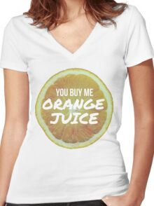 Orange Juice - 400 Lux - Lorde Women's Fitted V-Neck T-Shirt