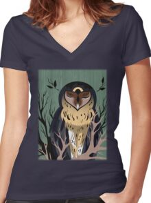 Wooden Owl Women's Fitted V-Neck T-Shirt