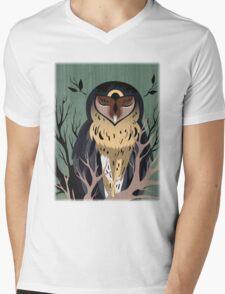 Wooden Owl Mens V-Neck T-Shirt
