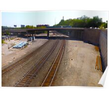 Railroad Tracks Tilt Shift Photograph Kansas City Poster