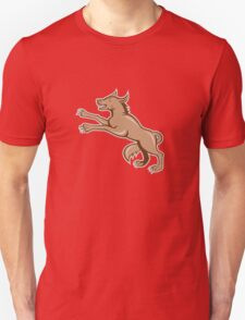 Wolf Wild Dog on Hind Legs Cartoon Unisex T-Shirt