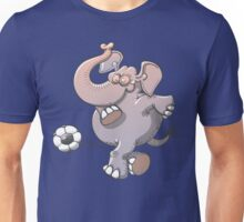 Cool elephant executing a stunt with a soccer ball  Unisex T-Shirt