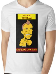 I Fought Jude Law And Jude Law Won (Black Background) Mens V-Neck T-Shirt