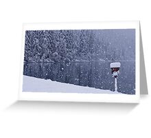 Heavy snowfall at the lake Greeting Card
