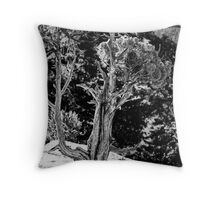 Living on the Edge in Black and White Throw Pillow