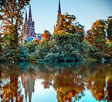 Minster Pool view of Lichfield Cathedral by salzsnapz