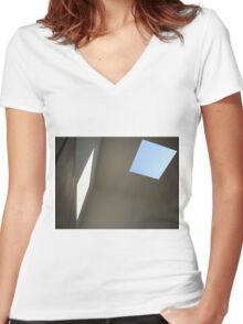Blue Sky, White Light Women's Fitted V-Neck T-Shirt