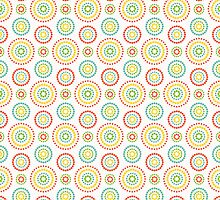 Colorful dots circles pattern on white background by amovitania