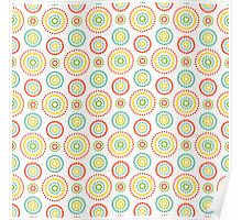Colorful dots circles pattern on white background Poster