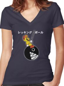Mario Wrecking Ball  Women's Fitted V-Neck T-Shirt
