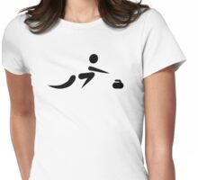 Curling player icon Womens Fitted T-Shirt
